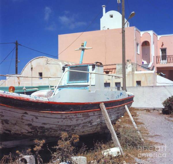 Santorini Art Print featuring the photograph Boat by Andrea Simon