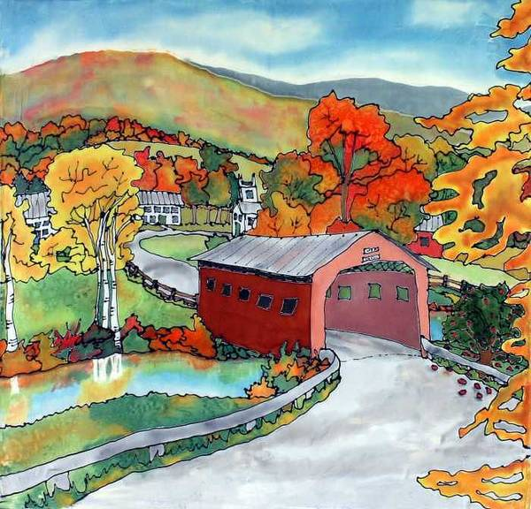 Silk Painting Art Print featuring the painting Bridge At The Green by Linda Marcille