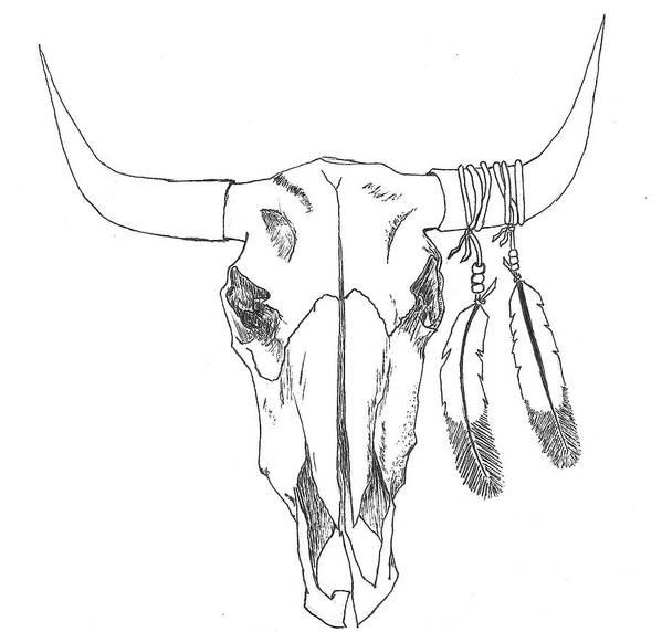 bull skull art print by shane silva