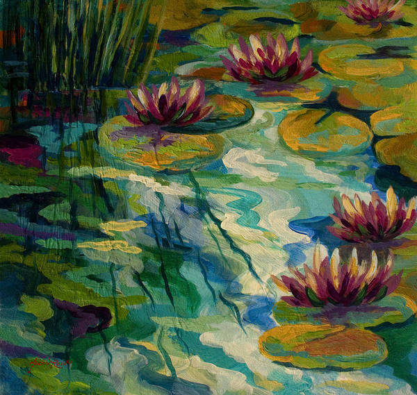 Water Lily Art Print featuring the painting Lily Pond II by Marion Rose