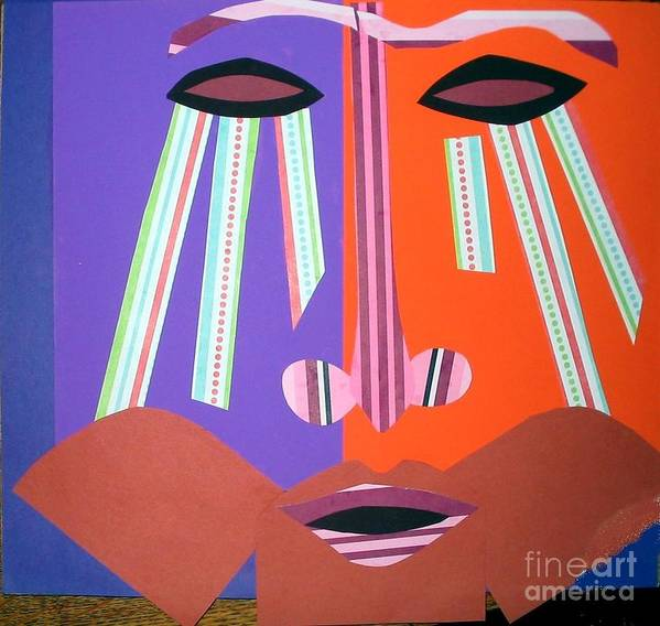Mask Art Print featuring the mixed media Mask With Streaming Eyes by Debra Bretton Robinson