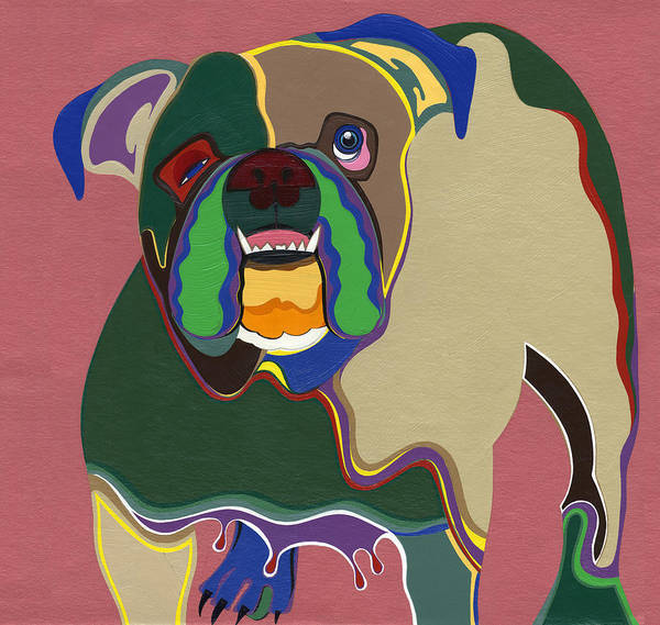Dogs Art Print featuring the painting Ms Diva The English Bulldog by Ruby Persson