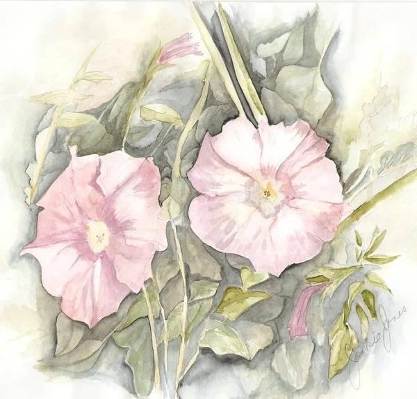 Petunias Art Print featuring the painting Petunias by Jackie Mueller-Jones