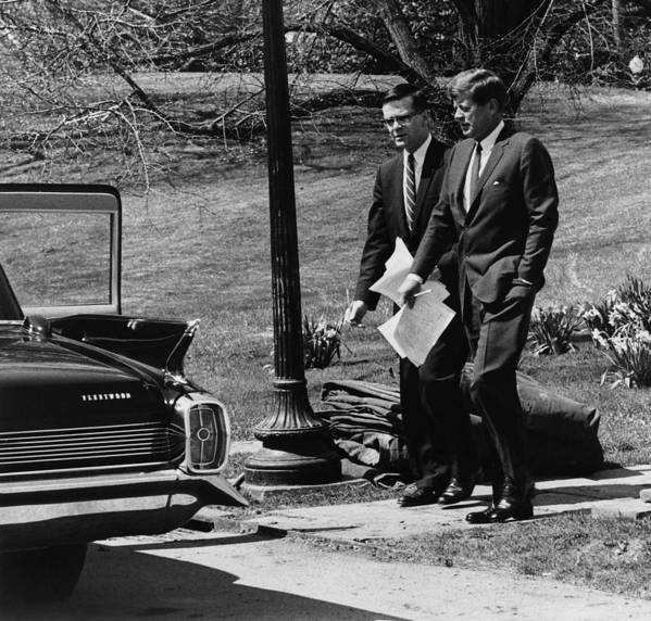History Art Print featuring the photograph President Kennedy With Theodore by Everett