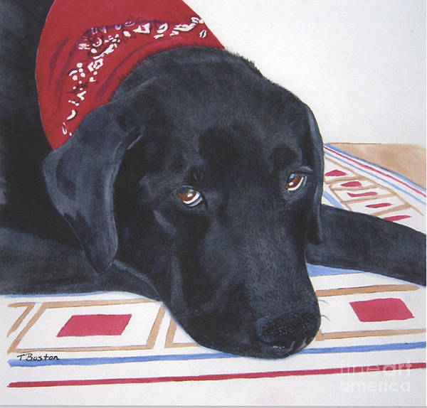 Black Art Print featuring the painting Red Bandana by Teresa Boston