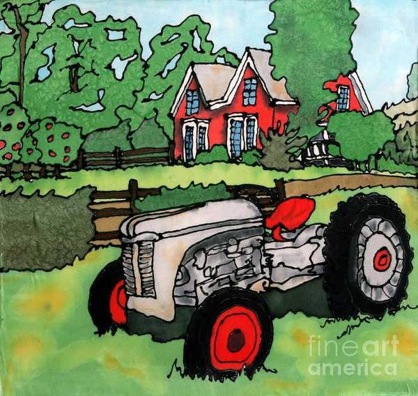 Silk Art Print featuring the painting Red House And Tractor by Linda Marcille