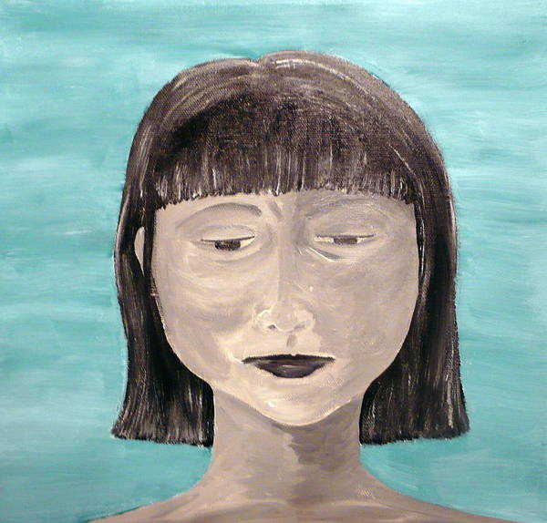 Portrait Art Print featuring the painting Sadness by Jennifer Hernandez