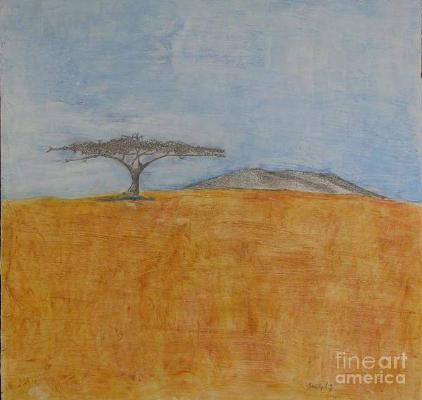 Abstract Desert Scene Art Print featuring the mixed media Serengeti by James SheppardIII