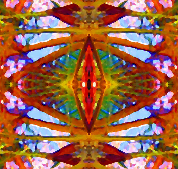 Abstract Art Print featuring the painting Tropical Stained Glass by Amy Vangsgard