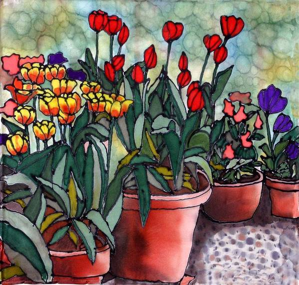 Silk Art Print featuring the painting Tulips In Clay Pots by Linda Marcille