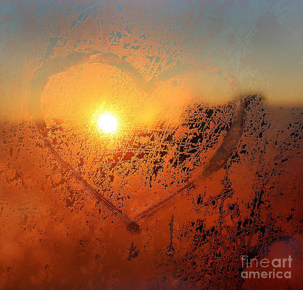 Sparkle Art Print featuring the photograph Love Symbol Drawn On The Frozen Winter by Artdi101