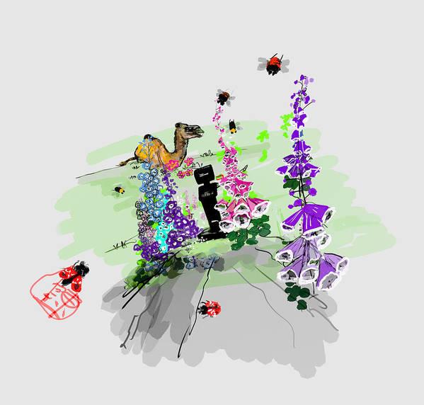 Garden. Flowers. Foxglove. Camel. Temi. Robot. Landscape Art Print featuring the digital art Whats Hiding In The Garden by Debbi Saccomanno Chan