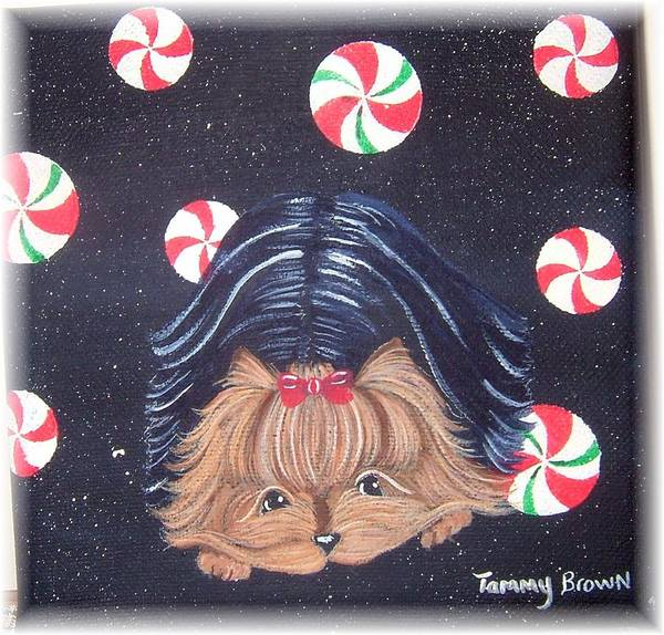 Dog Art Print featuring the painting Sweet Treats For Yorkie by Tammy Brown