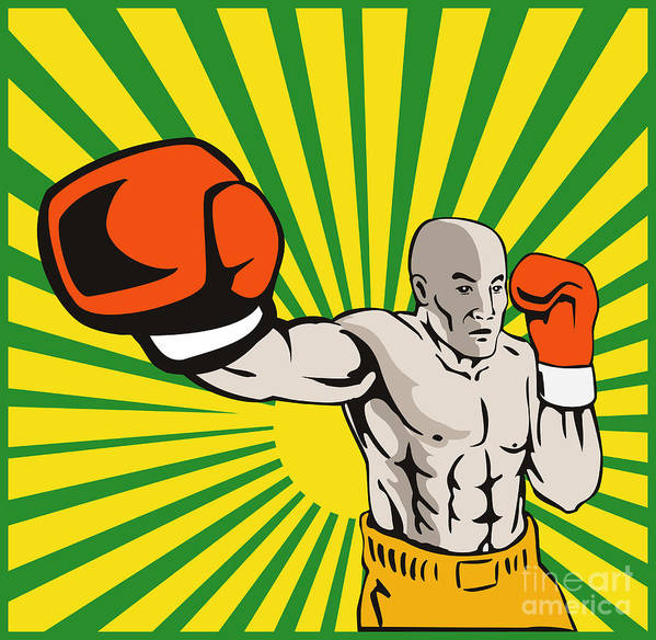 Boxer Art Print featuring the digital art Boxer Boxing Jabbing Front by Aloysius Patrimonio