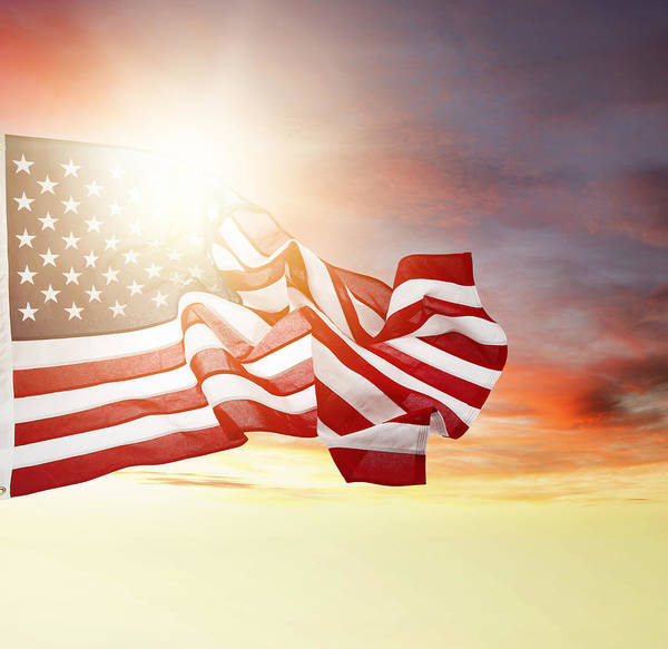 Sun Art Print featuring the photograph American Pride by Les Cunliffe