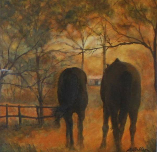 Horses Art Print featuring the painting Back To The Stable by Nigel Necklen