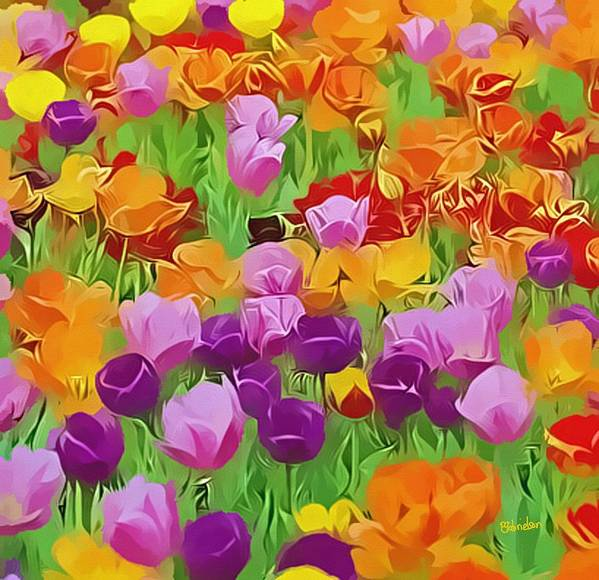 Flowers Art Print featuring the digital art Color Field by Peggy Gabrielson