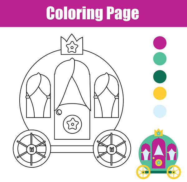 graphic about Printable Kids Game identify Coloring Site With Princess Carriage. Drawing Youngsters Video game. Printable Match Artwork Print