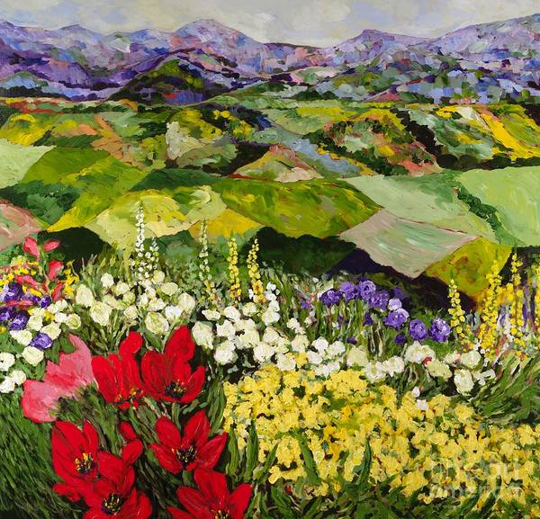 Landscape Art Print featuring the painting High Mountain Patch by Allan P Friedlander