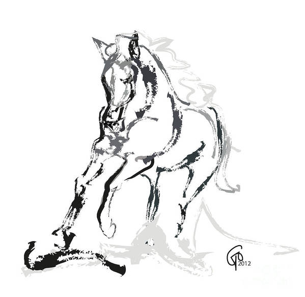 Running Horse Print featuring the painting Horse- Andalusian Angel by Go Van Kampen