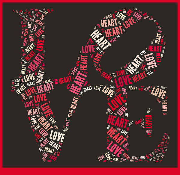 Red Art Print featuring the photograph Love Quatro Heart - S111b by Variance Collections