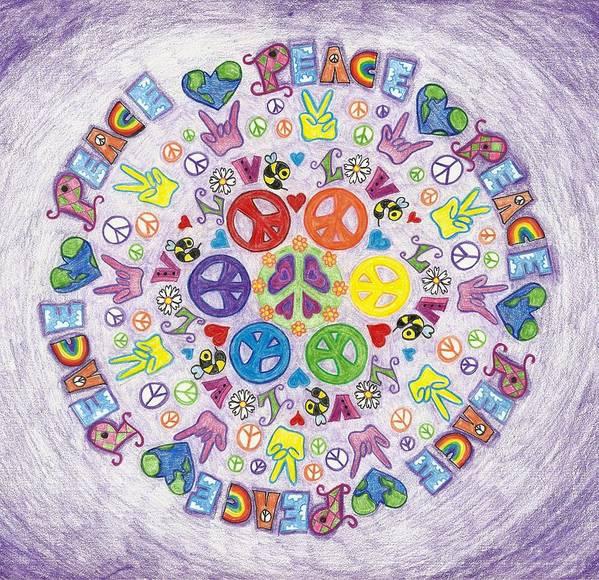 Peace Love And Rock N Roll Mandala Art Print