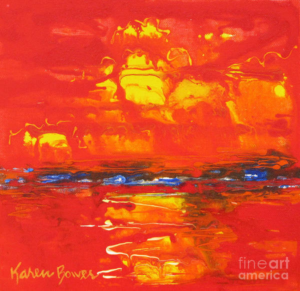 Sunset Art Print featuring the painting Red Sunset by Karen Bower