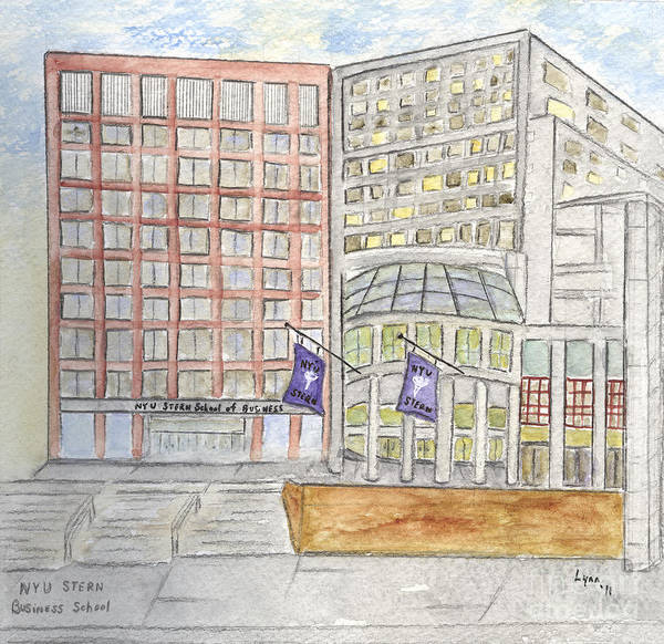 Nyu Art Print featuring the painting Nyu Stern School Of Business by AFineLyne
