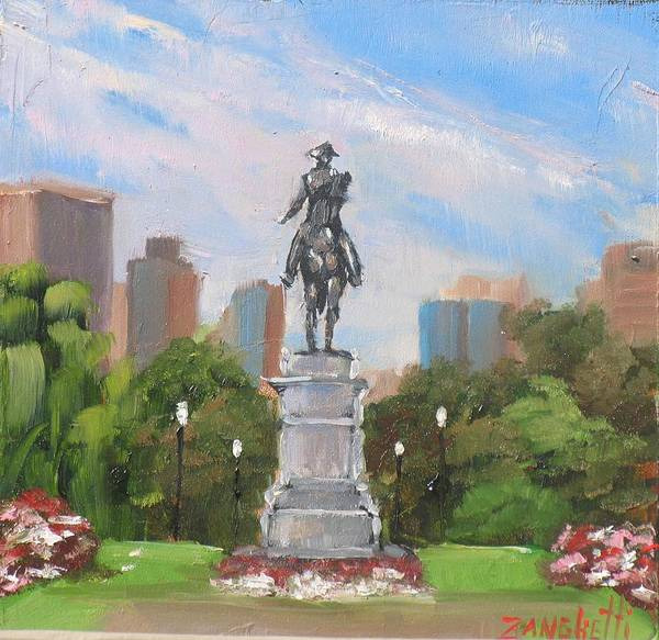 Boston Art Print featuring the painting Summer At The Gardens by Laura Lee Zanghetti