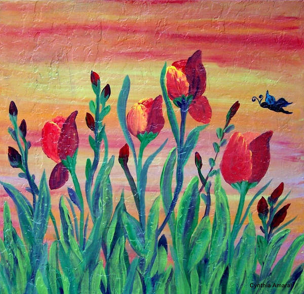 Mosaic Art Print featuring the painting Swaying by Cynthia Amaral