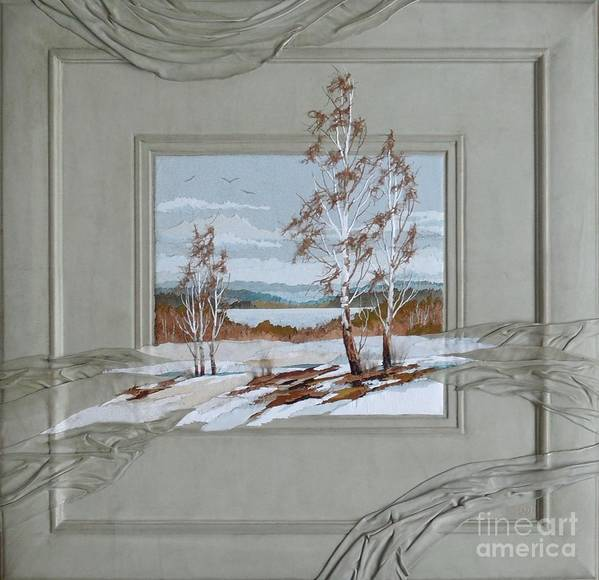 Landscape Art Print featuring the painting Thawed Patch by Yakubouskaya Olga