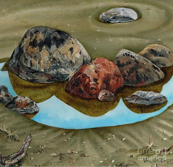 Broken Shells Art Print featuring the painting Tide's Out by Val Stokes