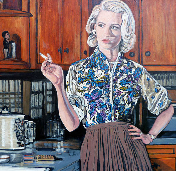 Betty Draper Art Print featuring the painting What's For Dinner? by Tom Roderick