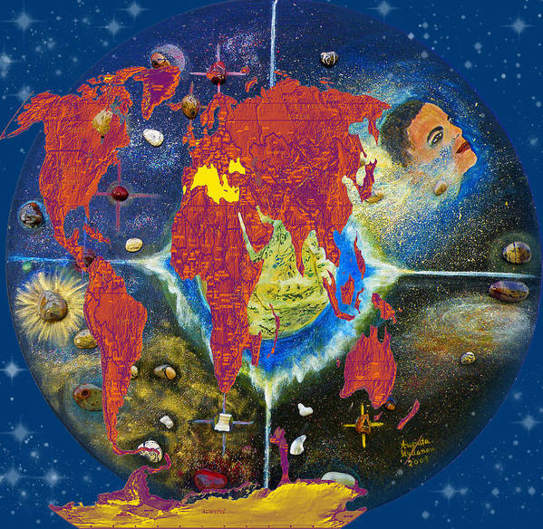 World Map Art Print featuring the painting World Map And Barack Obama Stars by Augusta Stylianou