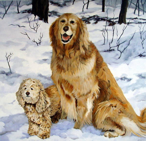 Dog Art Print featuring the painting Best Friends by Sandra Chase
