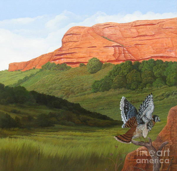 Red Hawk Art Print featuring the painting Ongamira by Juan Enrique Marquez