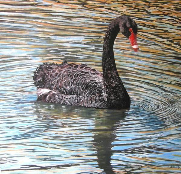 Black Swan Art Print featuring the painting Black Swan On Water by Leonie Bell