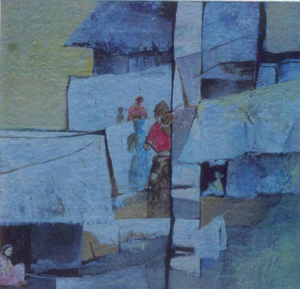 Abstract Art Print featuring the painting Brides And Old Clothes by Prakash Sree S N