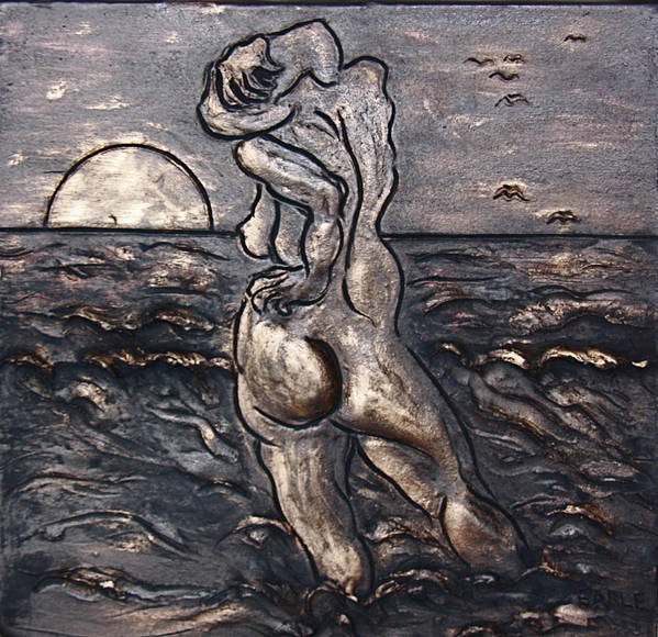 Female Nude Art Print featuring the drawing Sunset Reflection by Dan Earle