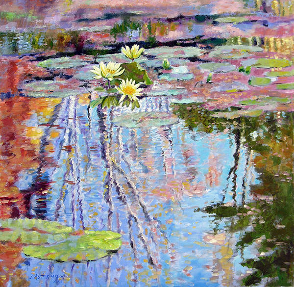 Garden Pond Art Print featuring the painting Fall Reflections by John Lautermilch