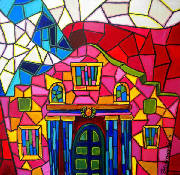 The Alamo Art Print featuring the painting Alamo Mosaic Two by Patti Schermerhorn