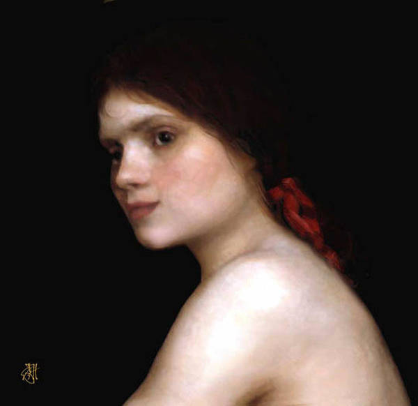 Portrait Of A Young Woman. Art Print featuring the digital art Angela's Ribbon by John Helgeson