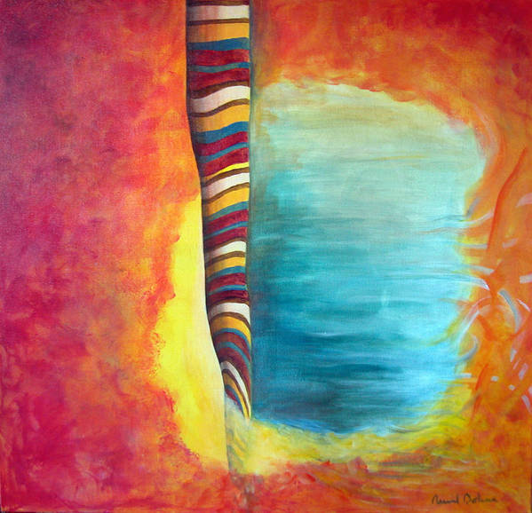Abstract Art Print featuring the painting Cafe by Muriel Dolemieux