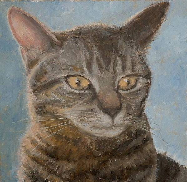 Pet Portraits Art Print featuring the painting cat by Lee Thomason