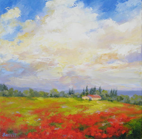 Poppies Art Print featuring the painting Cloud Poppies by Barrett Edwards