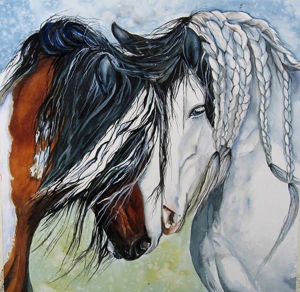 Equine Art Print featuring the painting Companions by Gina Hall