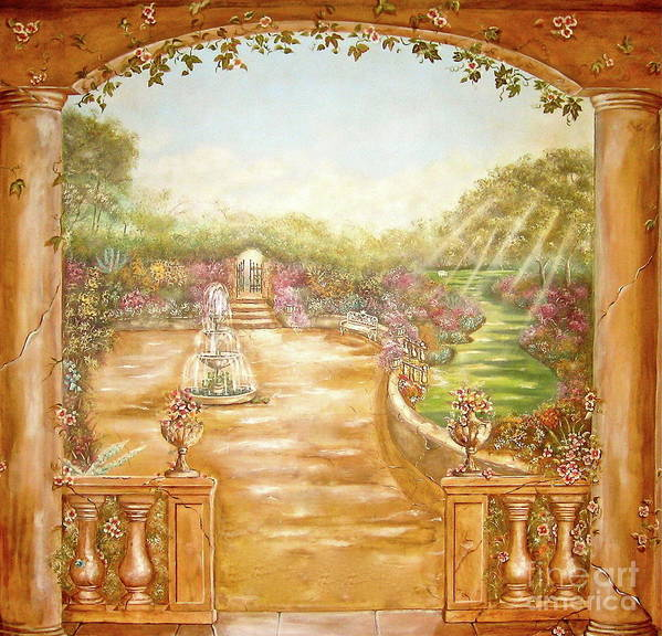 English Art Print featuring the painting English Garden View by Elizabeth Gomez