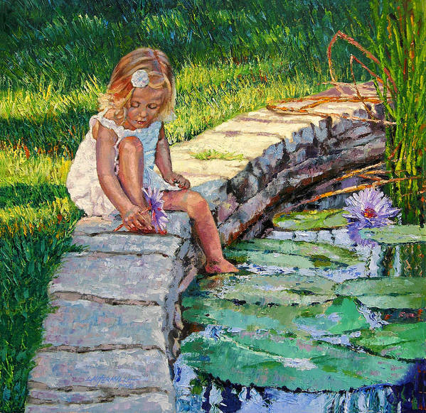 Small Girl Art Print featuring the painting Enjoying Yesterdays Sunlight by John Lautermilch
