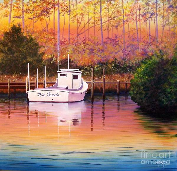 Landscape Art Print featuring the painting Evening Glow by Hugh Harris