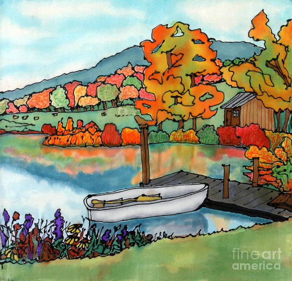 Boat Art Print featuring the painting Fall Boat And Dock by Linda Marcille